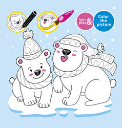 educational game for children paint polar teddy vector image