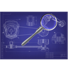 engineering drawing on a blue 3d vector image