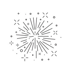 Festive burst firework icon in line artmonoc vector