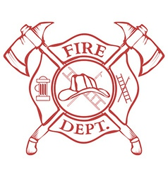 Fire Dept Label Helmet with Crossed Axes vector