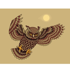 Flying owl bird vector