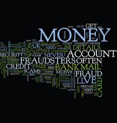 Fraud beware fraudsters text background vector