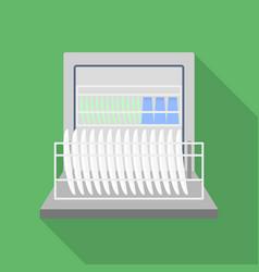 Full dishwasher icon flat style vector