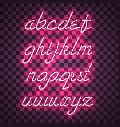 Glowing purple neon lowercase script font vector