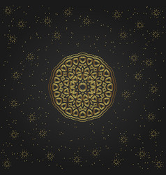 Golden circular shape creative eastern symbol vector
