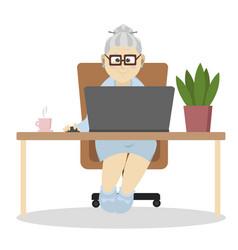 grandma at computer vector image