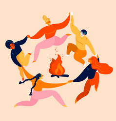 group young people dance and jump around fire vector image