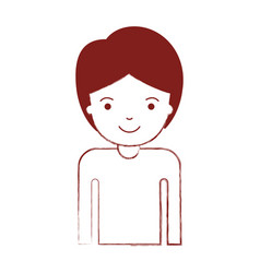 half body guy with short hair in dark red blurred vector image