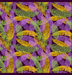 Hand drawn seamless pattern of feathers mardi vector