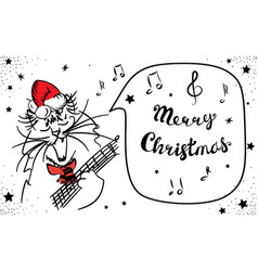 hand drawn singing merry christmas cat isolated vector image