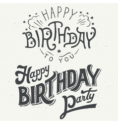Happy birthday hand drawn typographic design set vector image
