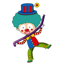 happy clown with purple balloon vector image