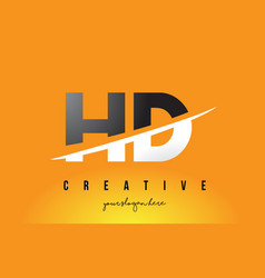 Hd h d letter modern logo design with yellow vector