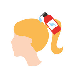 Head woman with shampoo bottle barber product vector