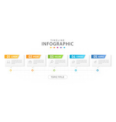 infographic 5 steps modern timeline with boxes vector image
