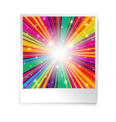 Instant blank photo template with rainbow vector