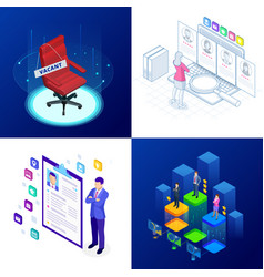 isometric set of online job search and human vector image