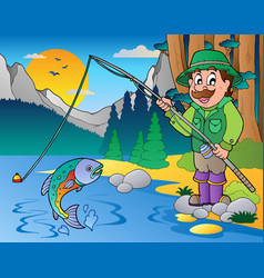 lake with cartoon fisherman 1 vector image