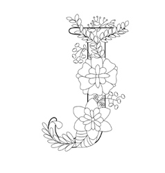 Letter J coloring book for adults vector image