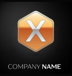 Letter x logo symbol in the golden hexagonal vector