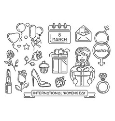 line icons set for international womens day vector image