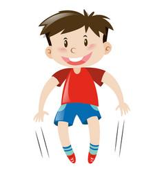 Little boy in red shirt jumping vector