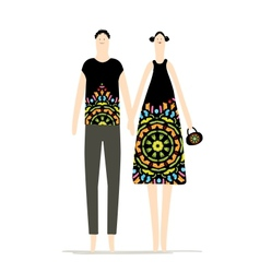 Man and woman together sketch for your design vector image