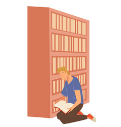 man reading book in library student in bookshop vector image