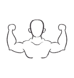 man silhouette bodybuilder muscle vector image vector image