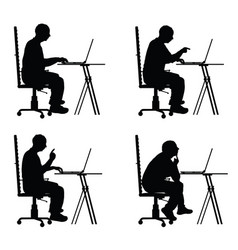 man silhouette sitting in office chair with laptop vector image