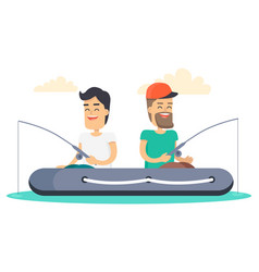Men out on fishing in boat isolated vector