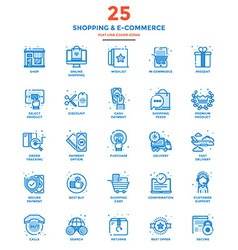 Modern Flat Line Color Icons Shopping and E vector