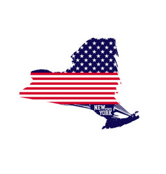 new york state map contains of usa flag colors vector image