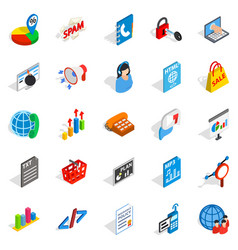 notification icons set isometric style vector image