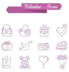 Object valentine day icons collection vector