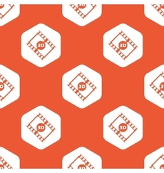 Orange hexagon 3D movie pattern vector