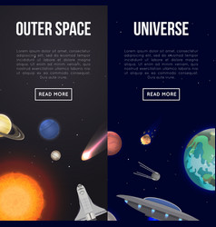 Outer space flyers with cosmic elements vector