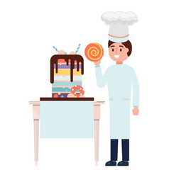 pastry chef male character cake maker cooking vector image