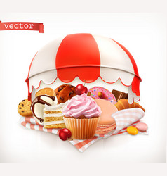 Pastry shop confectionery sweet dessert cake vector