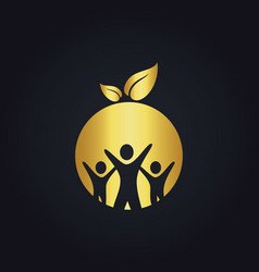 People group round vegan gold logo vector