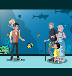 people looking at fish in the aquarium vector image