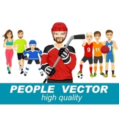 People with various sport characters vector