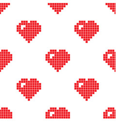 pixel heart seamless pattern vector image