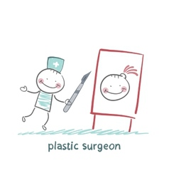 Plastic surgeon with a scalpel gives a vector