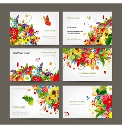 Postcard collection with floral bouquet for your vector