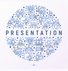 Presentation concept in circle with thin line icon vector