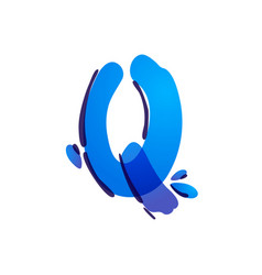 Q letter eco logo with blue water drops vector