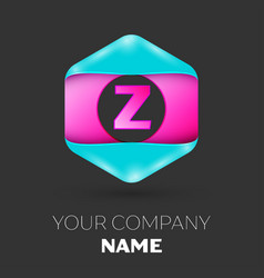 Realistic letter z logo in colorful hexagonal vector
