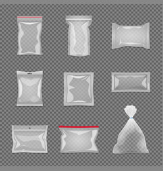 realistic transparent package set vector image