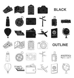 Rest and travel black icons in set collection vector